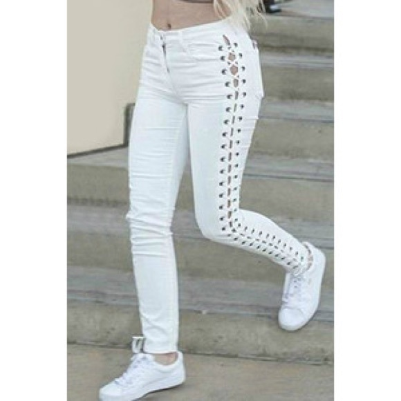 A.l.c Lace Up Pants Size 8 Cream Color Pants